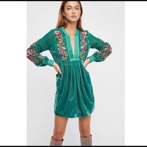 Free People Mia Velvet Embroidered Mini Dress